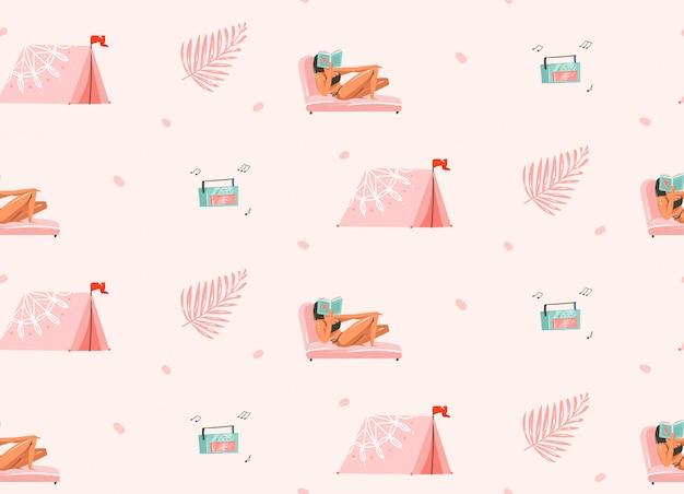 Dibujado a mano dibujos animados gráficos abstractos ilustraciones de horario de verano de patrones sin fisuras con personajes de chicas relajarse en la playa con tienda de campaña y tocadiscos sobre fondo blanco