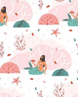 Dibujado a mano dibujos animados gráficos de verano bajo el agua ilustraciones de patrones sin fisuras con estrellas de mar, peces y personajes de chicas sirena aislados sobre fondo blanco.