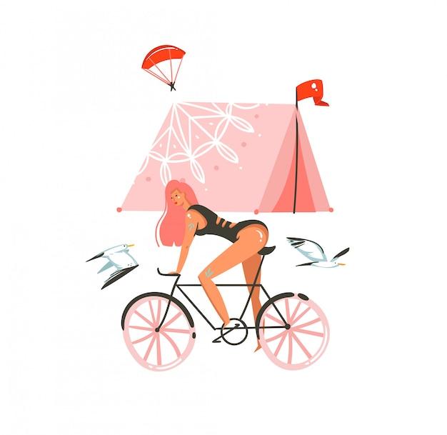 Dibujado a mano dibujos animados ilustraciones gráficas de verano con paseo en bicicleta, tienda de campaña aislada