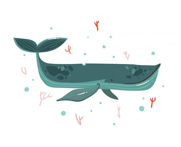 Dibujado a mano dibujos animados ilustraciones de verano bajo el agua con los arrecifes de coral y el personaje de belleza ballena grande sobre fondo blanco