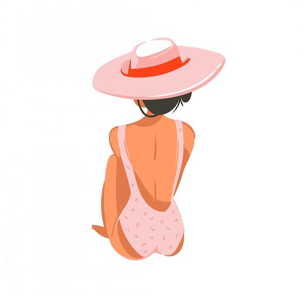 Dibujado a mano dibujos animados ilustraciones de verano con chica relajante en sombrero rosa sobre fondo blanco.
