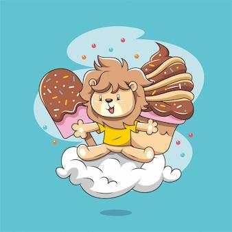 Dibujado a mano dibujos animados lindo león con helado y nube