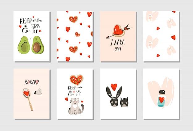 Dibujado a mano dibujos animados modernos abstractos feliz día de san valentín concepto ilustraciones conjunto de tarjetas con lindos gatos, pizza, corazones, aguacate y caligrafía manuscrita sobre fondo blanco.