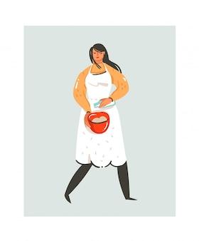 Dibujado a mano dibujos animados modernos abstractos icono de ilustraciones divertidas de tiempo de cocina con mujer chef de cocina en delantal blanco preparando galletas aisladas en blanco