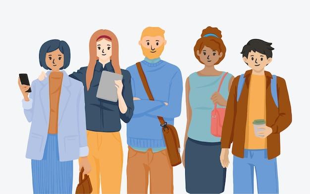 Dibujado a mano dibujos animados de personas de trabajo en equipo exitoso