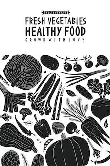 Dibujado a mano de dibujos animados plantilla de diseño de verduras