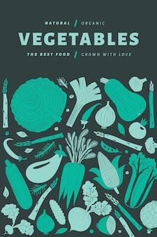 Dibujado a mano de dibujos animados plantilla de verduras.
