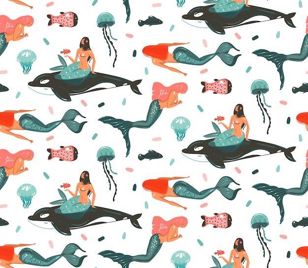 Dibujado a mano dibujos animados verano bajo el agua ilustraciones de patrones sin fisuras con ballenas asesinas, medusas y belleza bohemio sirena personajes de chicas sobre fondo blanco