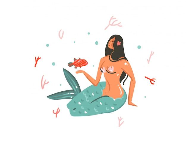 Dibujado a mano dibujos animados verano ilustraciones bajo el agua con arrecifes de coral, peces y sirena niña personaje sobre fondo blanco.