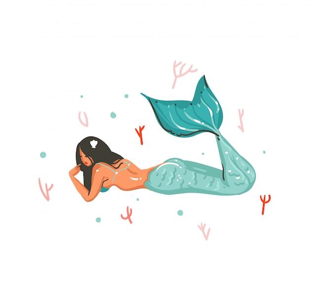 Dibujado a mano dibujos animados verano ilustraciones subacuáticas con arrecifes de coral y personaje de niña sirena sobre fondo blanco