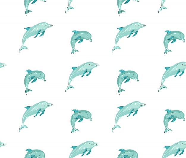 Dibujado a mano dibujos animados verano sin patrón con delfines saltando en colores azules sobre fondo blanco.