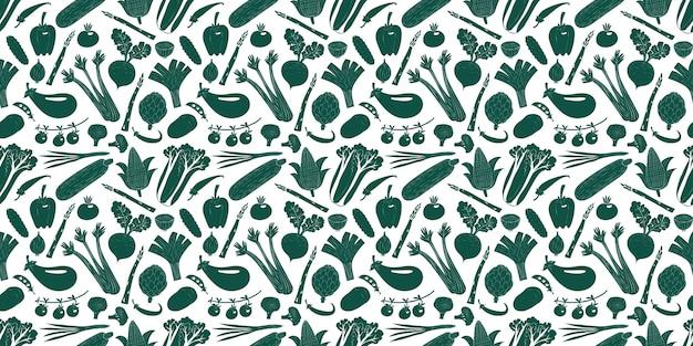 Dibujado a mano dibujos animados verduras de patrones sin fisuras