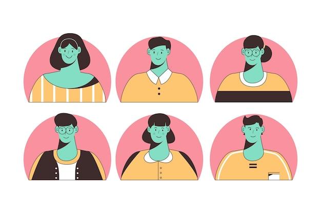 Dibujado a mano diferentes iconos de perfil ilustrados