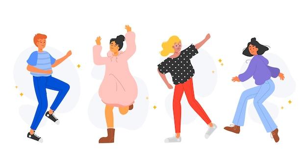 Dibujado a mano diferentes personas bailando set