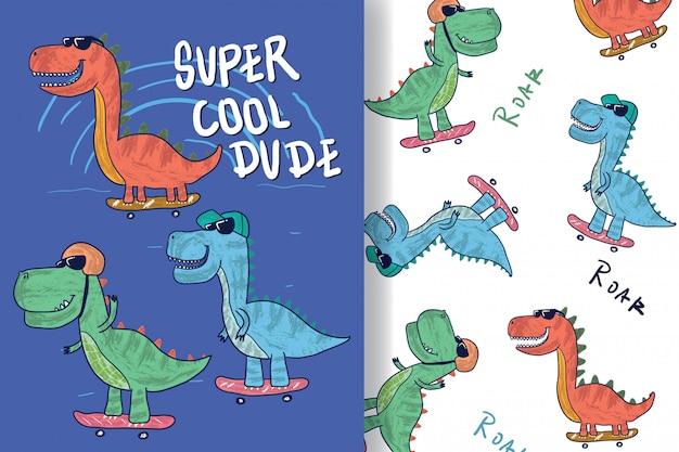 Dibujado a mano un dinosaurio lindo con patrón editable