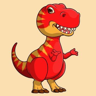 Dibujado a mano dinosaurio lindo t-rex, vector