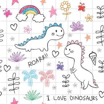 Dibujado a mano dinosaurios de patrones sin fisuras
