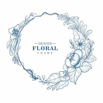 Dibujado a mano diseño de boceto de borde de marco florístico
