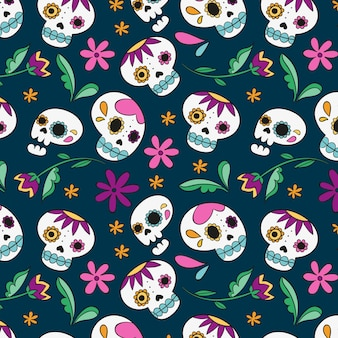 Dibujado a mano diseño día de los muertos patrón