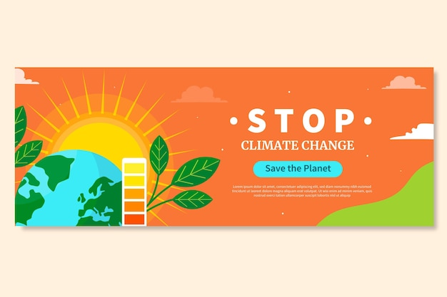 Dibujado a mano diseño plano cambio climático portada de facebook