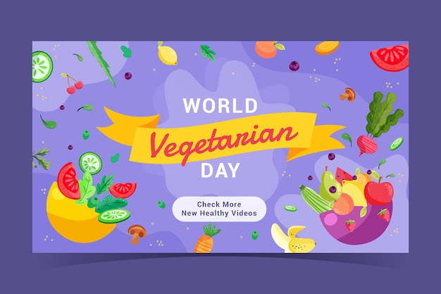 Dibujado a mano diseño plano comida vegetariana canal de youtube arte