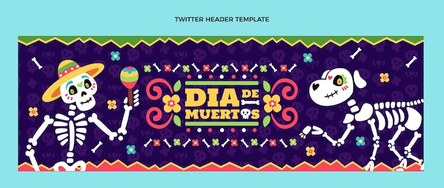 Dibujado a mano diseño plano dia de muertos encabezado de twitter