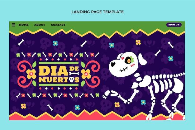 Dibujado a mano diseño plano dia de muertos landing page