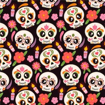 Dibujado a mano diseño plano dia de muertos patrón