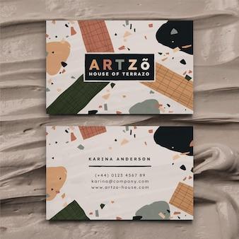 Dibujado a mano diseño plano formas abstractas tarjetas de visita