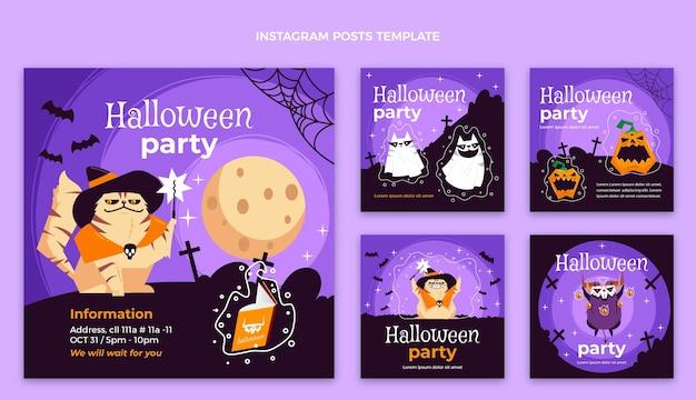 Dibujado a mano diseño plano halloween ig post vector gratuito
