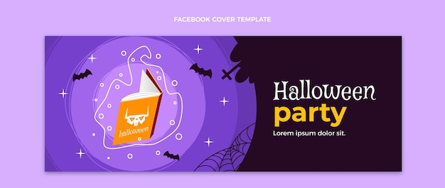 Dibujado a mano diseño plano halloween portada de facebook
