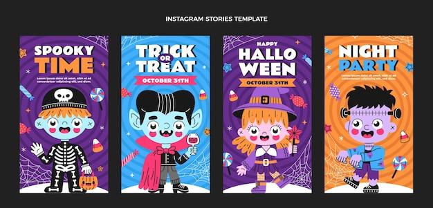 Dibujado a mano diseño plano historias de halloween ig