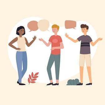 Dibujado a mano diseño plano personas hablando