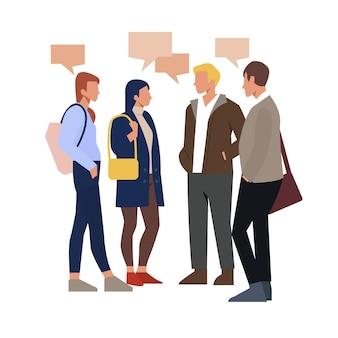 Dibujado a mano diseño plano de personas hablando