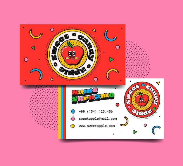 Dibujado a mano diseño plano tarjetas de visita de dibujos animados de moda