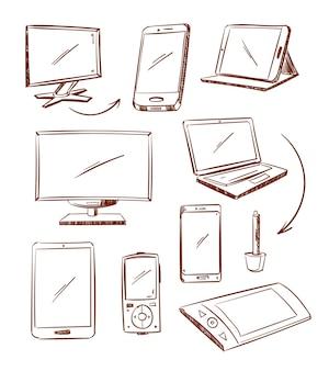 Dibujado a mano dispositivo tableta, pc, computadora portátil, teléfono inteligente doodle iconos de línea