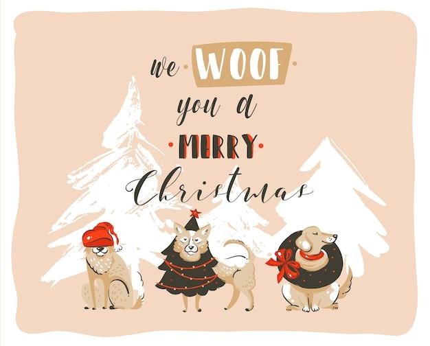 Dibujado a mano diversión abstracta feliz navidad cartel de ilustraciones de dibujos animados con perros de navidad y texto moderno de caligrafía manuscrita we woof you a merry christmas aislado sobre fondo pastel.