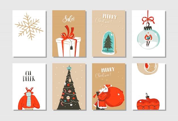 Dibujado a mano diversión abstracta feliz navidad tiempo colección de tarjetas de dibujos animados con lindas ilustraciones aisladas en blanco