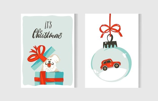 Dibujado a mano diversión abstracta feliz navidad tiempo colección de tarjetas de dibujos animados con lindas ilustraciones, cajas de regalo sorpresa, perros y texto de caligrafía moderna manuscrita aislado sobre fondo blanco.