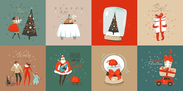 Dibujado a mano diversión abstracta feliz navidad tiempo colección de tarjetas de dibujos animados con lindas ilustraciones, cajas de regalo sorpresa, perros y texto de caligrafía moderna manuscrita sobre fondo blanco.