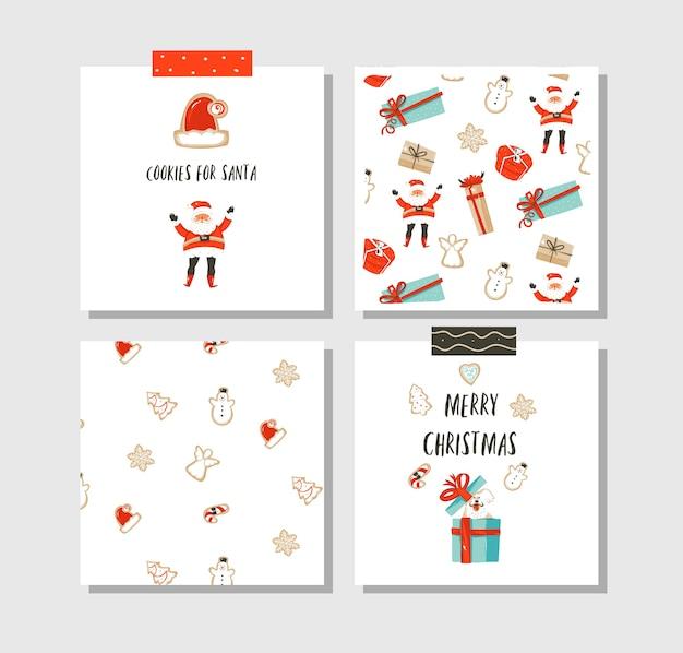 Dibujado a mano diversión abstracta feliz navidad tiempo conjunto de colección de tarjetas de dibujos animados