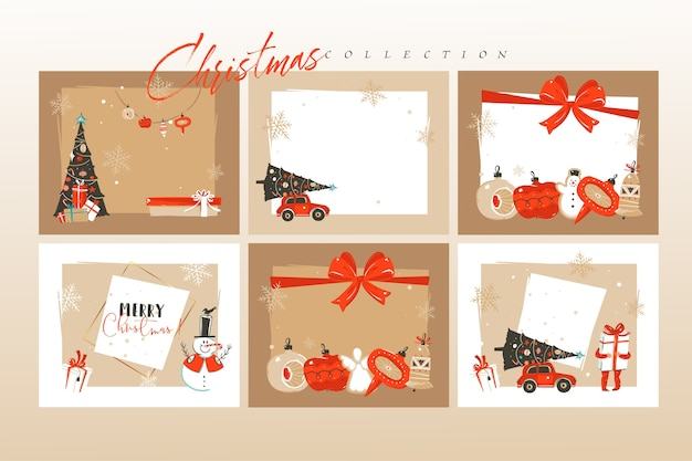 Dibujado a mano diversión abstracta feliz navidad tiempo dibujos animados ilustraciones tarjetas de felicitación plantilla y fondos gran colección con cajas de regalo, personas y arte de navidad aislado sobre fondo blanco