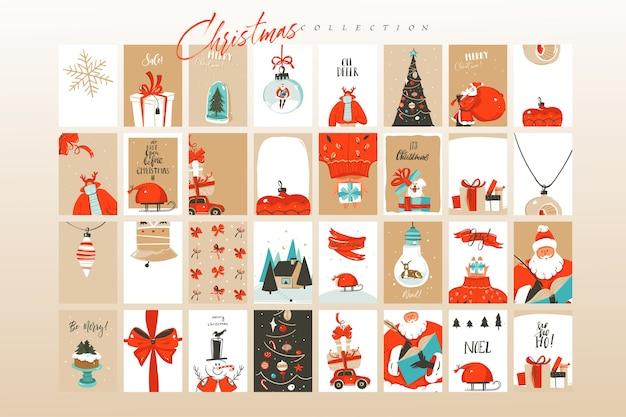 Dibujado a mano diversión abstracta feliz navidad tiempo dibujos animados ilustraciones tarjetas de felicitación plantilla y fondos gran colección conjunto aislado sobre fondo blanco.