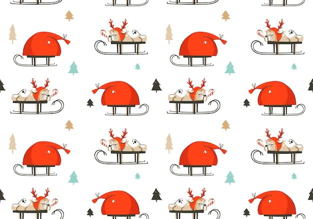 Dibujado a mano diversión abstracta feliz navidad tiempo ilustración de dibujos animados de patrones sin fisuras