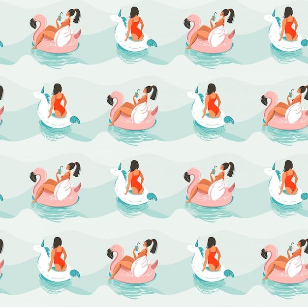 Dibujado a mano diversión abstracta ilustración de verano de patrones sin fisuras con girlrs nadando en flamenco rosado y unicornio flota círculos en las olas del océano azul