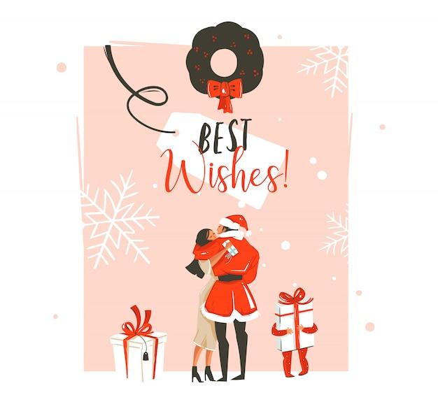 Dibujado a mano divertida ilustración de coon de tiempo de feliz año nuevo con pareja romántica que se besan y abrazan, corona de navidad, niño pequeño con regalo y tipografía sobre fondo pastel