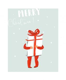 Dibujado a mano divertida ilustración de coon de tiempo de feliz navidad con niño que sostiene una caja de regalo sorpresa grande con lazo rojo y cita de tipografía moderna sobre fondo azul