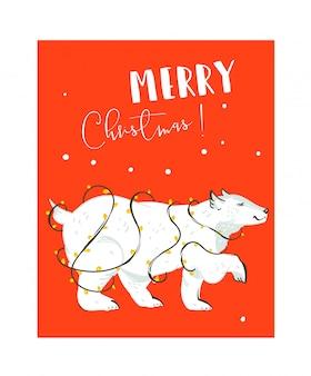 Dibujado a mano divertida plantilla de tarjeta de ilustraciones de feliz navidad tiempo coon con oso polar blanco y guirnalda de luces sobre fondo rojo