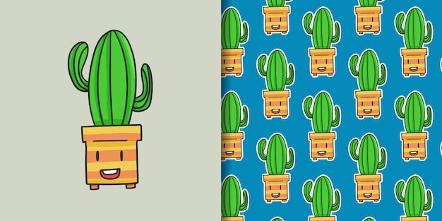 Dibujado a mano divertido cactus con patrón
