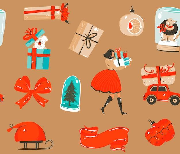 Dibujado a mano divertido stock plano feliz navidad y feliz año nuevo tiempo de dibujos animados festivo de patrones sin fisuras con lindas ilustraciones de cajas de regalo retro de navidad aisladas